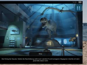 T-Rex hat nichts mit dem Verschwinden von Ninas Vater zu tun (Geheimakte Tunguska – iOS)