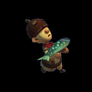 Ein Träger mit Fisch in Journey Home