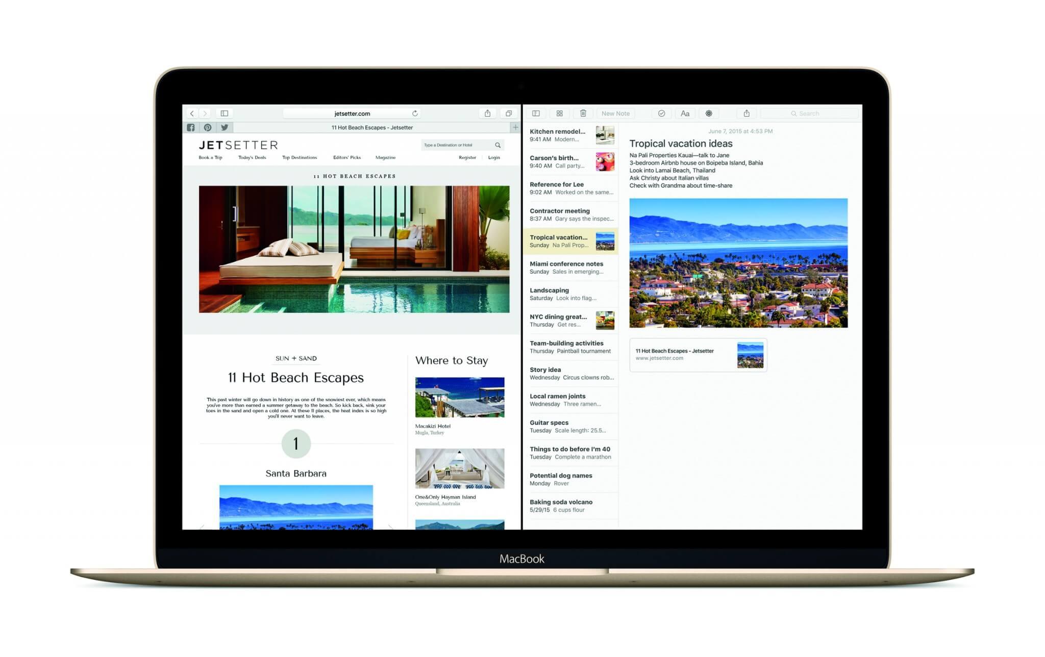 Safari und Notizen im Splitscreen-Modus unter OS X 10.11 El Capitan (Bildrechte: Apple)