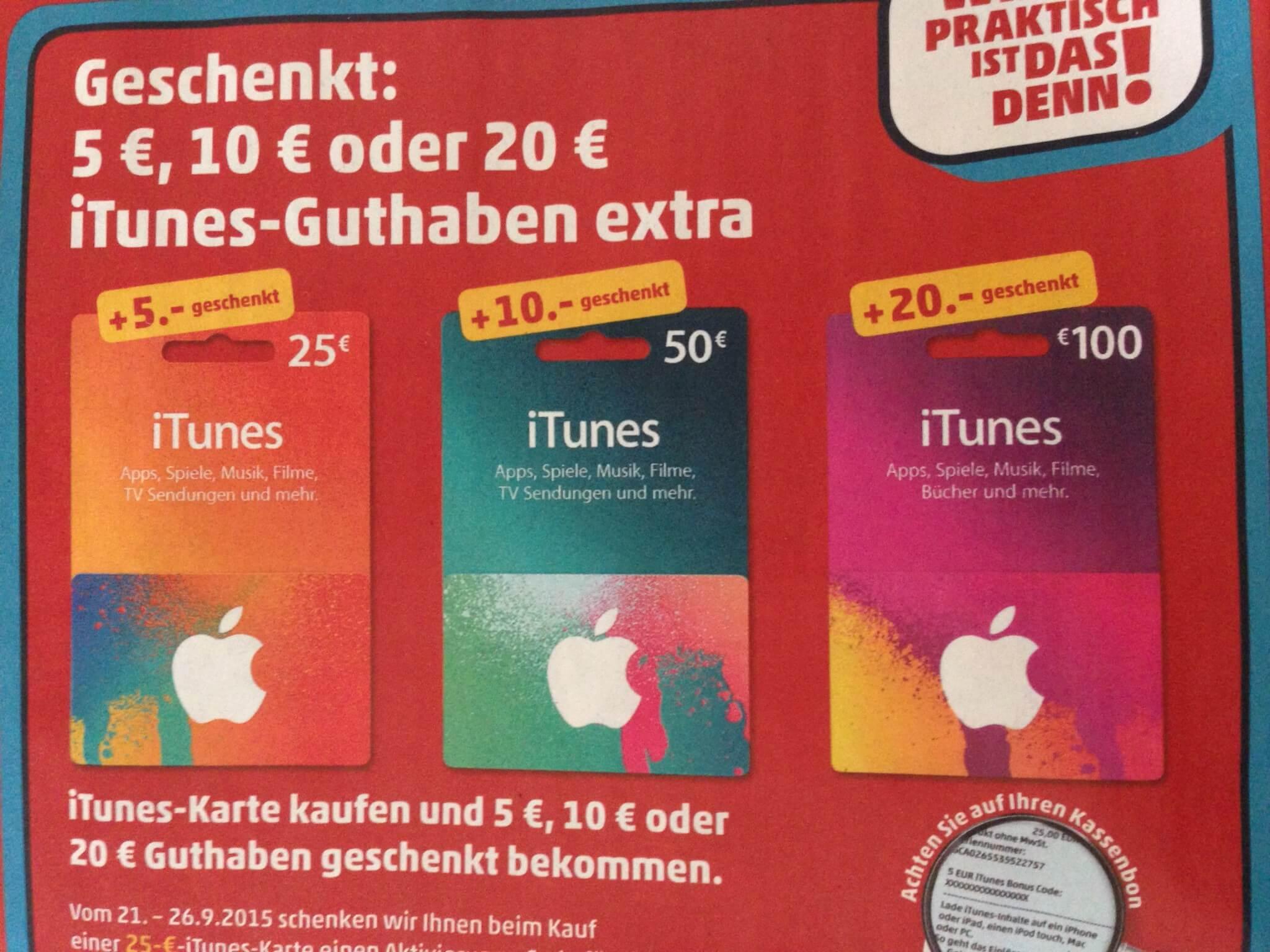iTunes-Guthabenkarten bei Penny im Angebot (21.09.-26.09.2015)