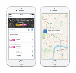 Anzeige von ÖPNV-Verbindungen in London in der Karten-App von iOS 9 (Bildrechte: Apple)