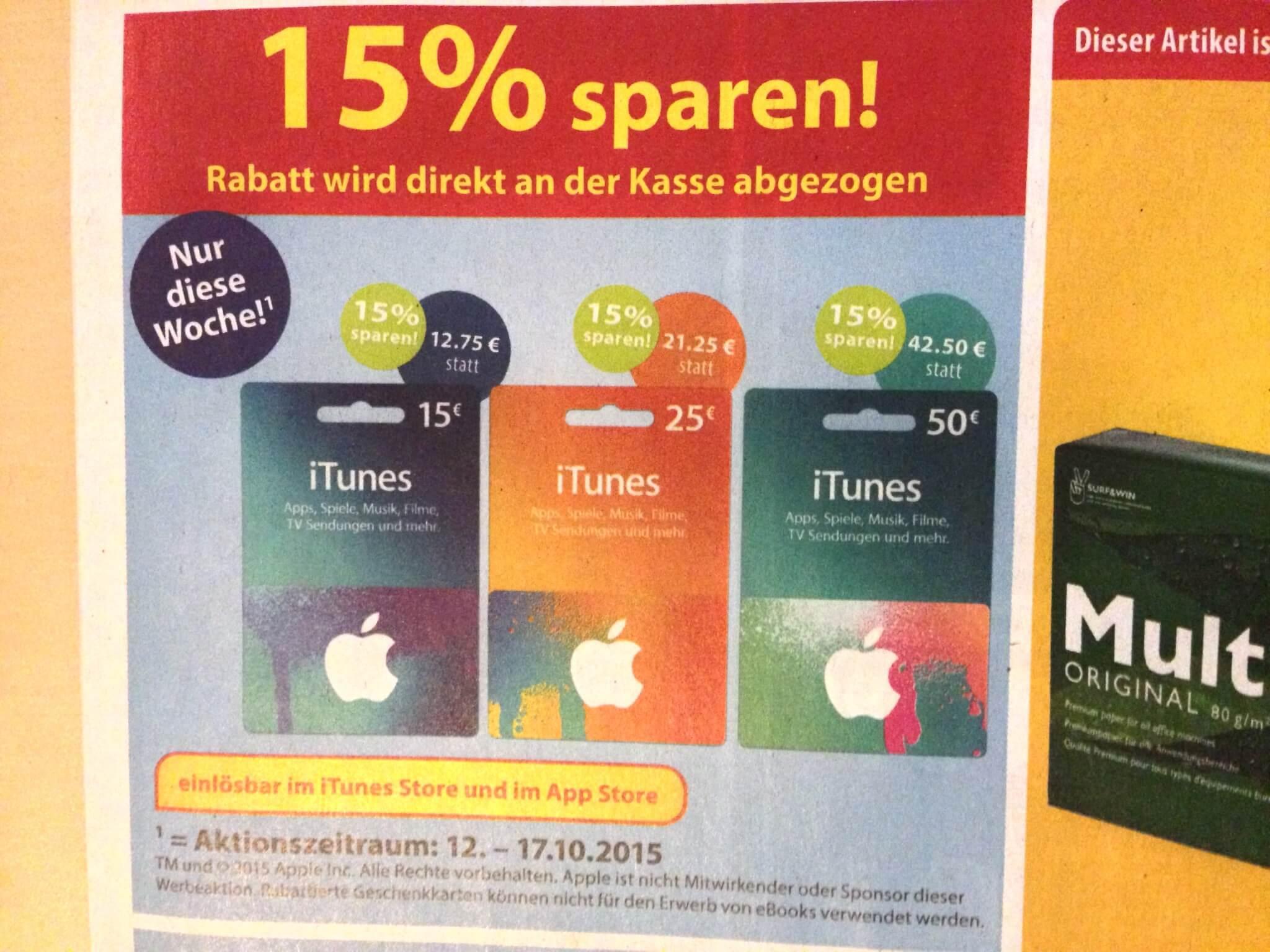 iTunes-Guthabenkarten bei Famila im Angebot (aus Famila-Prospekt)