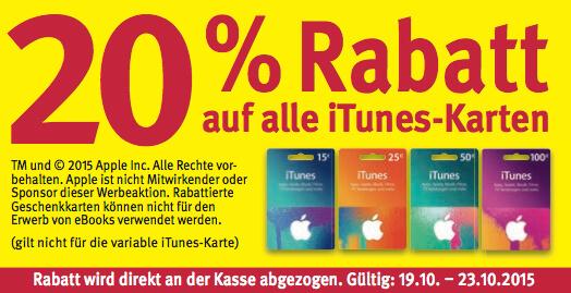 Rabatt auf iTunes-Guthabenkarten bei Rossmann (aus Rossmann-Prospekt)