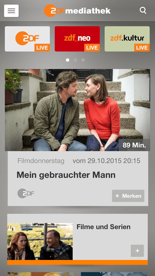 ZDF-Mediathek-App auf dem iPhone