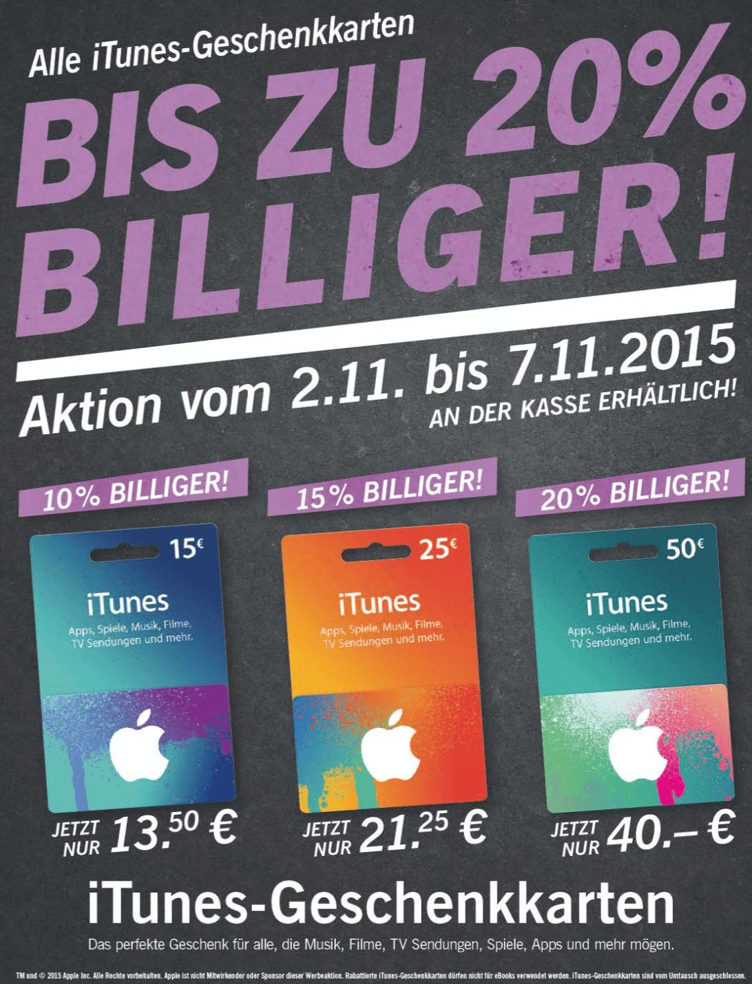 Rabatt auf iTunes-Guthabenkarten bei Lidl (Screenshot aus Lidl-Prospekt)