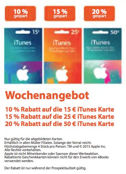 iTunes-Guthabenkarten-Angebot bei Müller (Screenshot aus Müller-Prospekt)