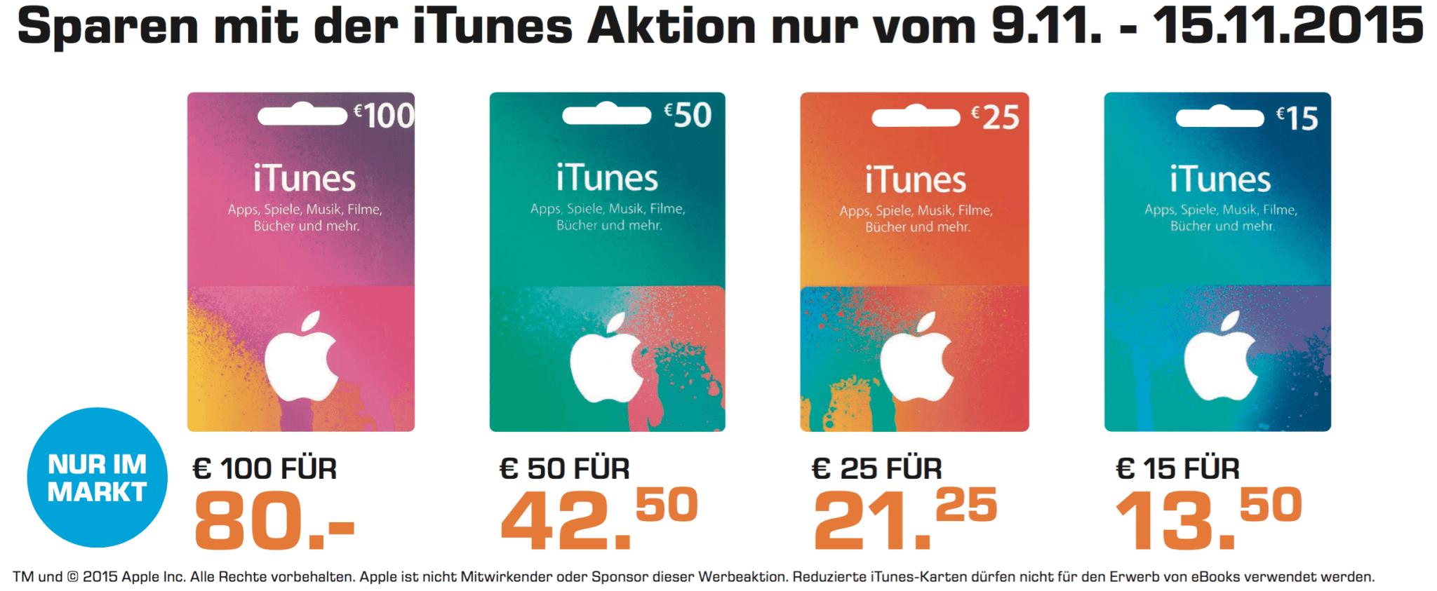 Rabatt auf iTunes-Guthabenkarten bei Saturn (Screenshot aus Saturn-Prospekt)
