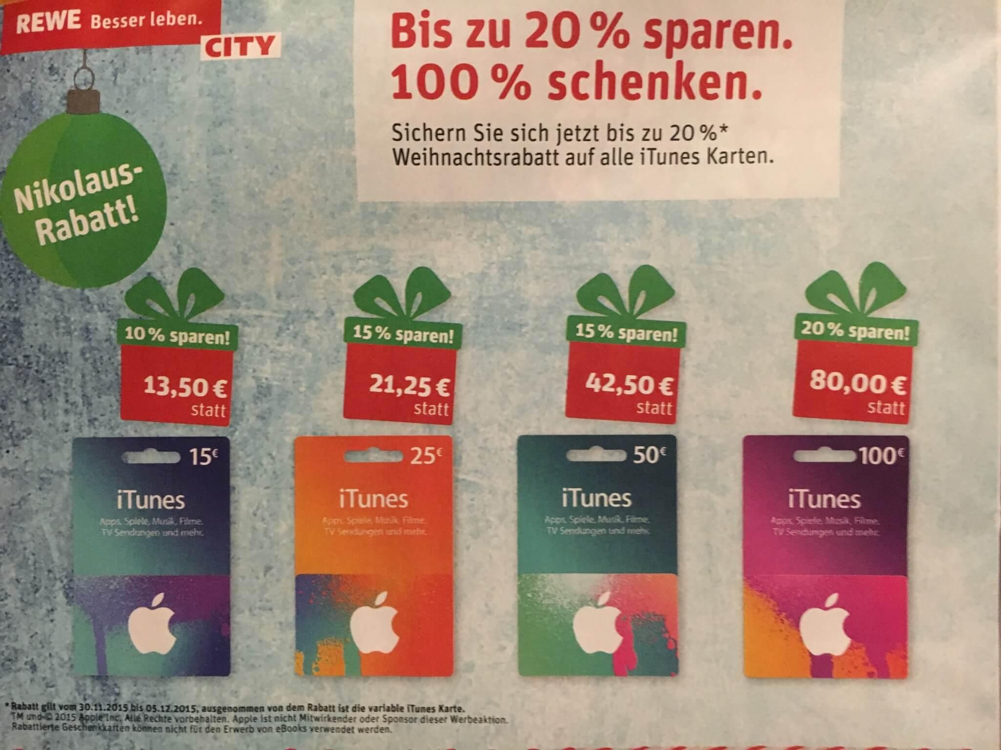 iTunes-Guthabenkarten im Angebot bei Rewe (aus Rewe-City-Prospekt)