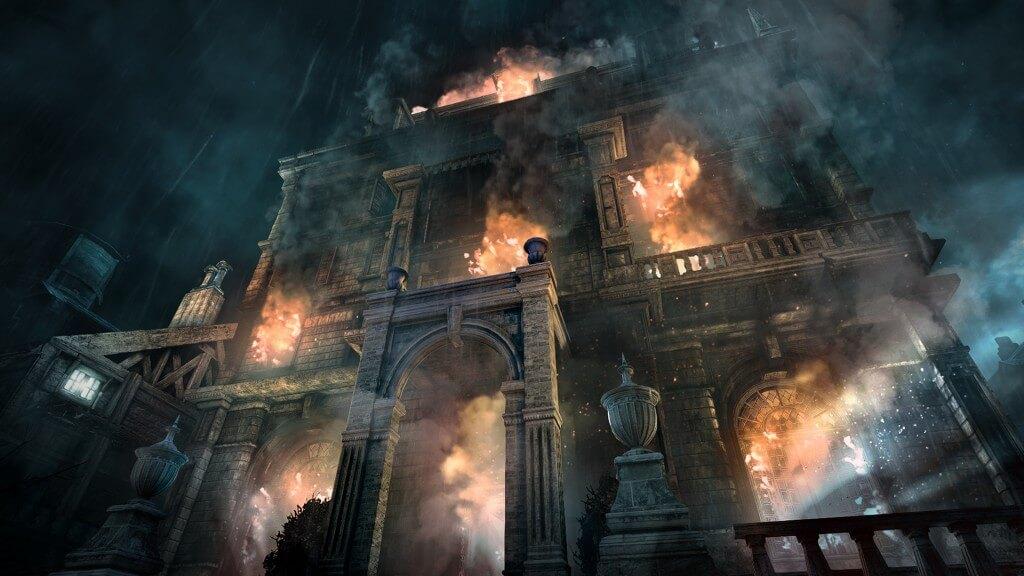 """Diese Stadt wird brennen: In Thief (2014) entflammt ein Konflikt zwischen dem autoritären """"Baron"""" und dessen unterdrücktem Volk. Bildrechte: Square Enix"""