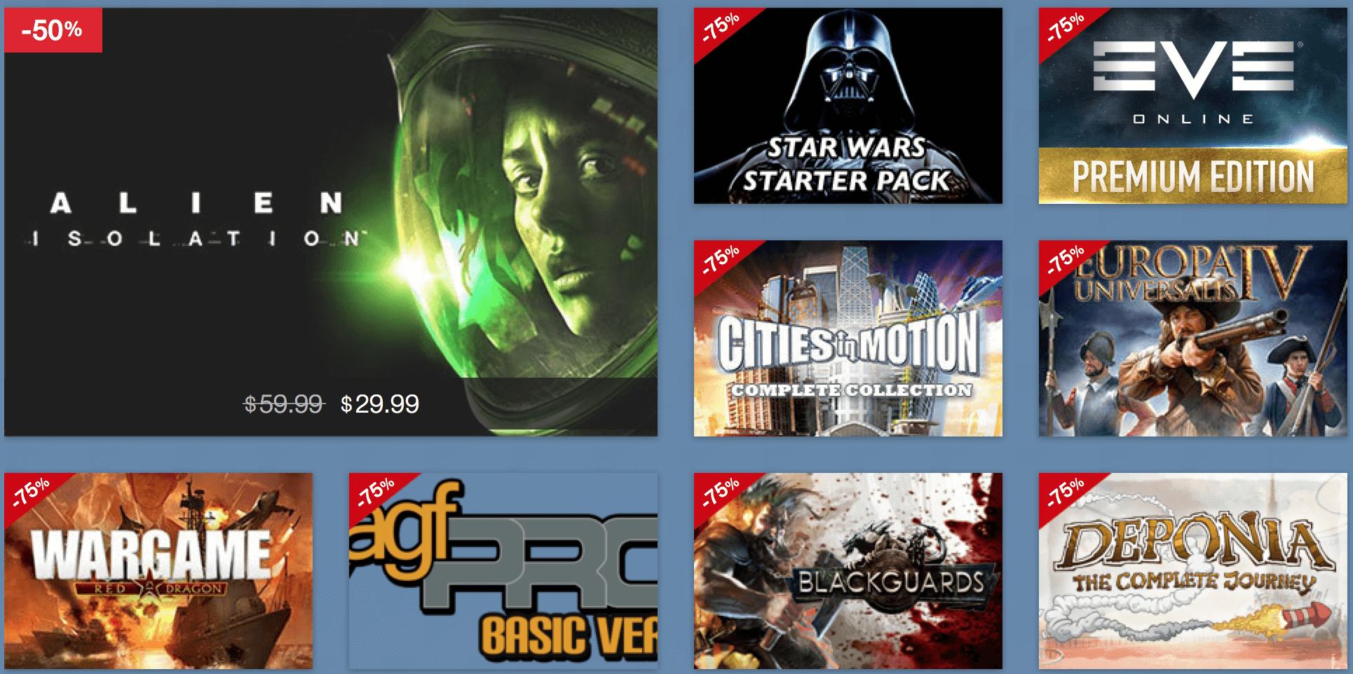 Einige Angebote im Holiday Sale 2015 vom MacGameStore (Screenshot: macgamestore.com)