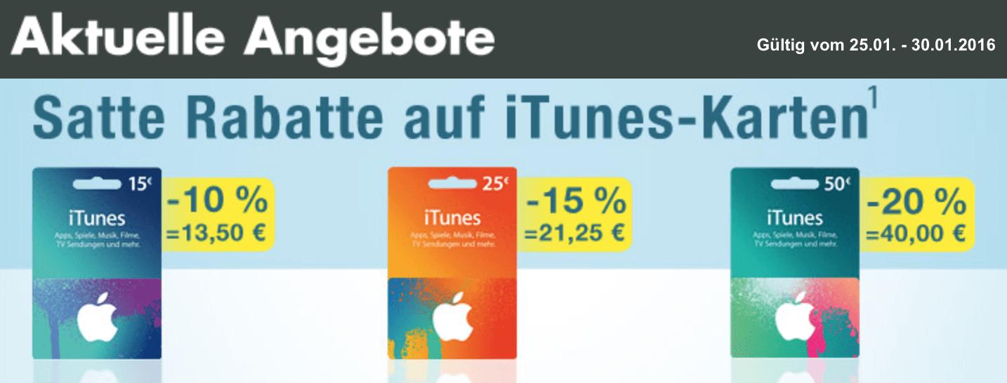 iTunes-Guthabenkarten-Angebote bei Kaufland (Screenshot von Kaufland-Webseite)