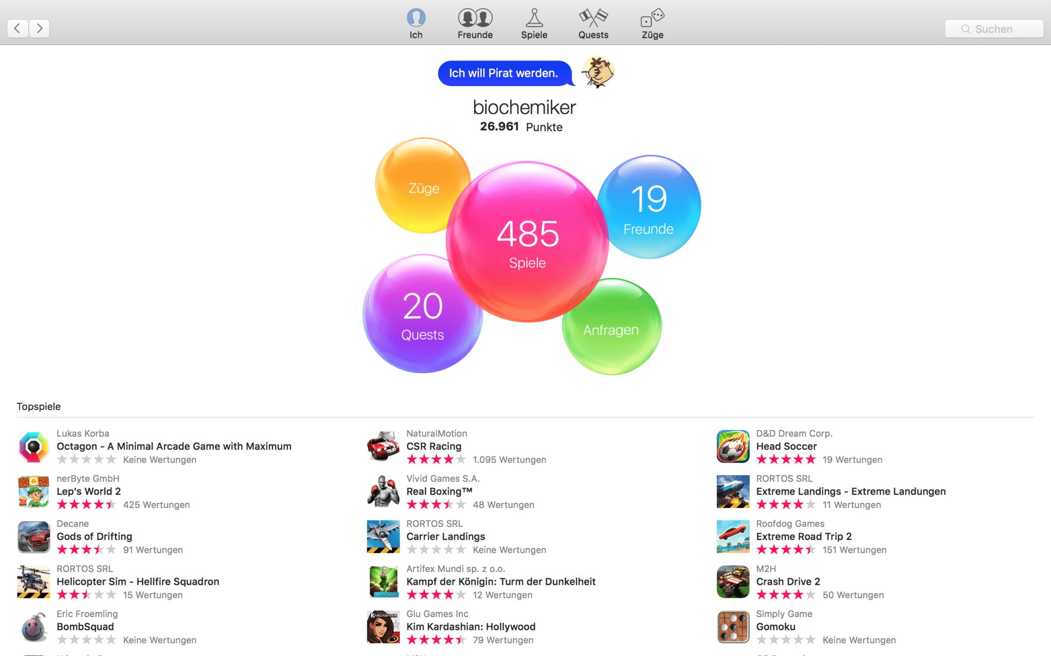 Game-Center: Apples eigene Verwaltung von Spiel-Statistiken