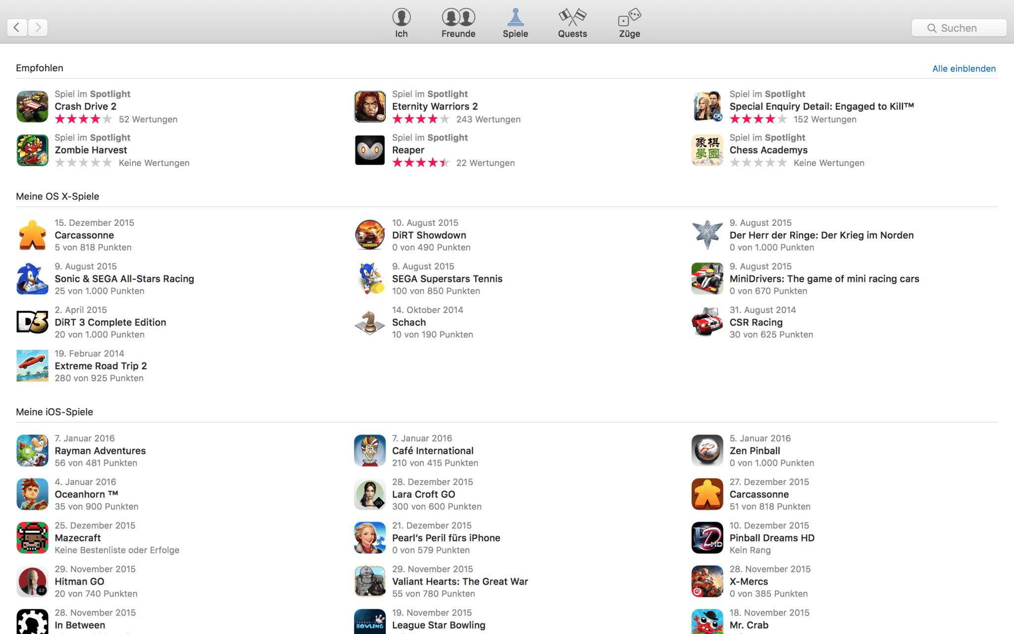 Game Center verwaltet iOS- und OS-X-Spiele