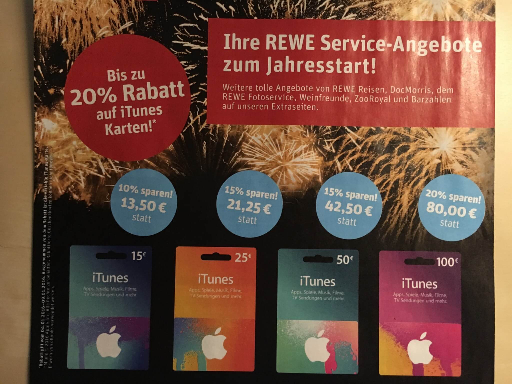 Januar 2016: iTunes-Guthabenkarten im Angebot bei Rewe (Foto aus Rewe-Prospekt)