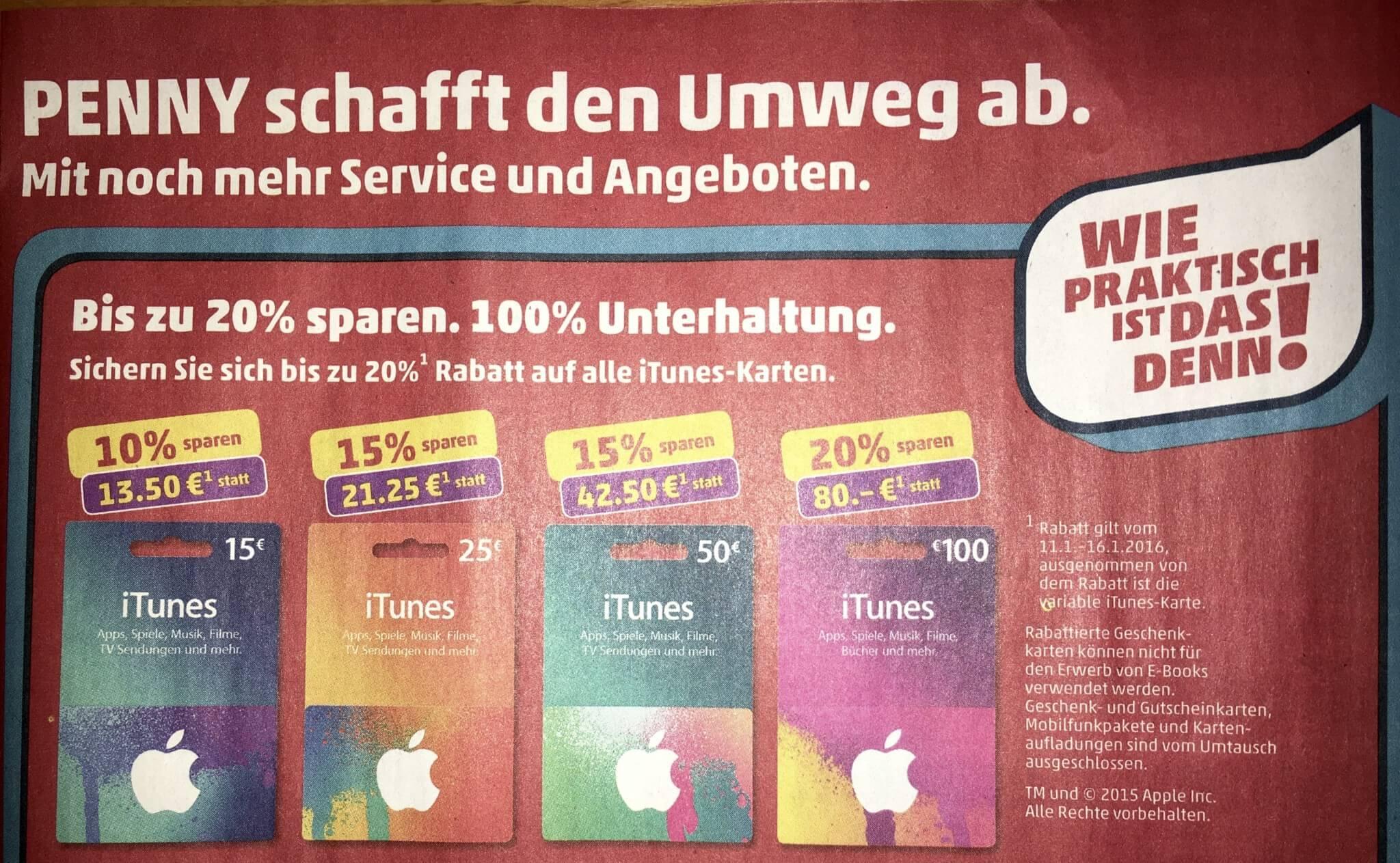 Rabatt auf iTunes-Guthabenkarten bei Penny (Foto von Penny-Prospekt)
