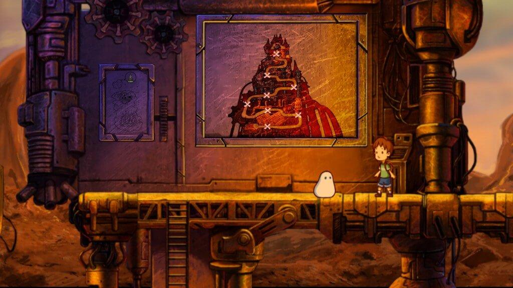 Allein zu zweit: Blob und sein junger Weggefährte springen und rätseln sich gemeinsam durch eine handgezeichnete 2D-Welt.