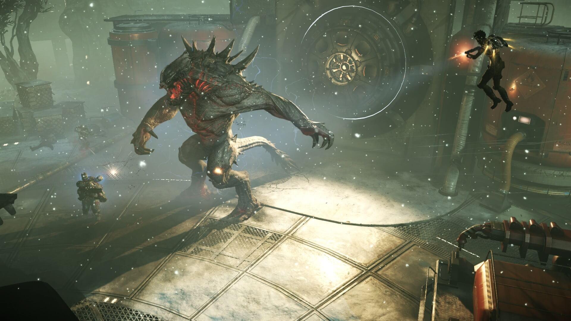 Vier Jäger sollen das massive Monster, das ein fünfter Spieler steuert, suchen und erlegen.