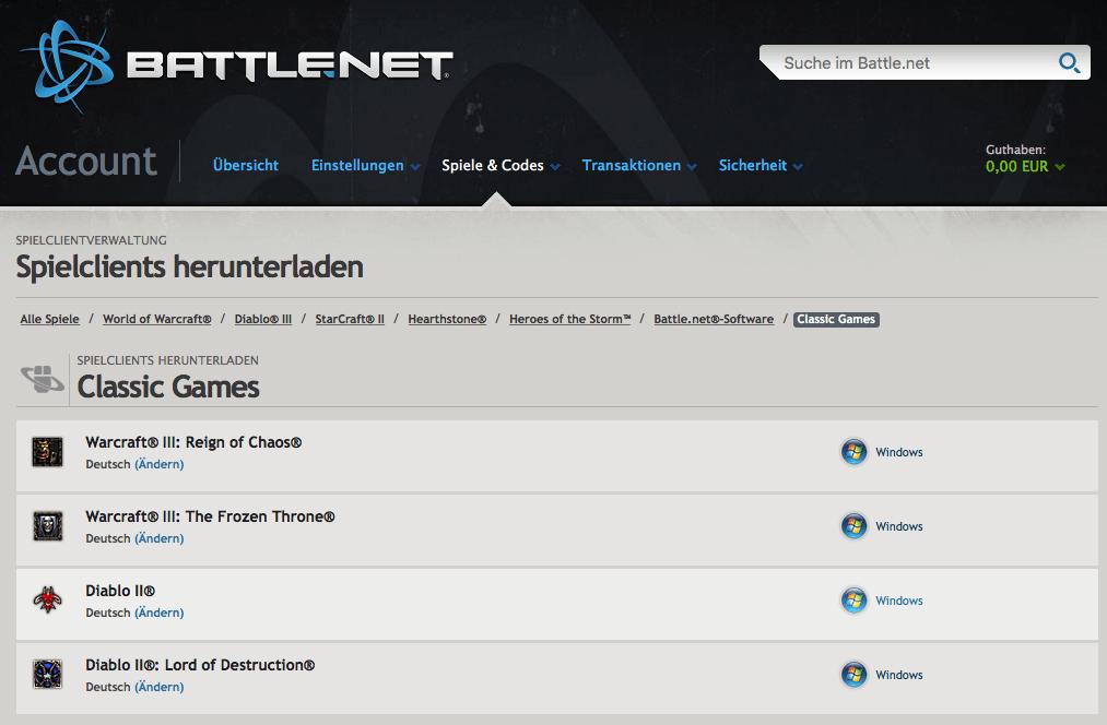 Derzeit stehen nur die Windows-Versionen der Blizzard-Klassiker über Battle.net zur Verfügung.