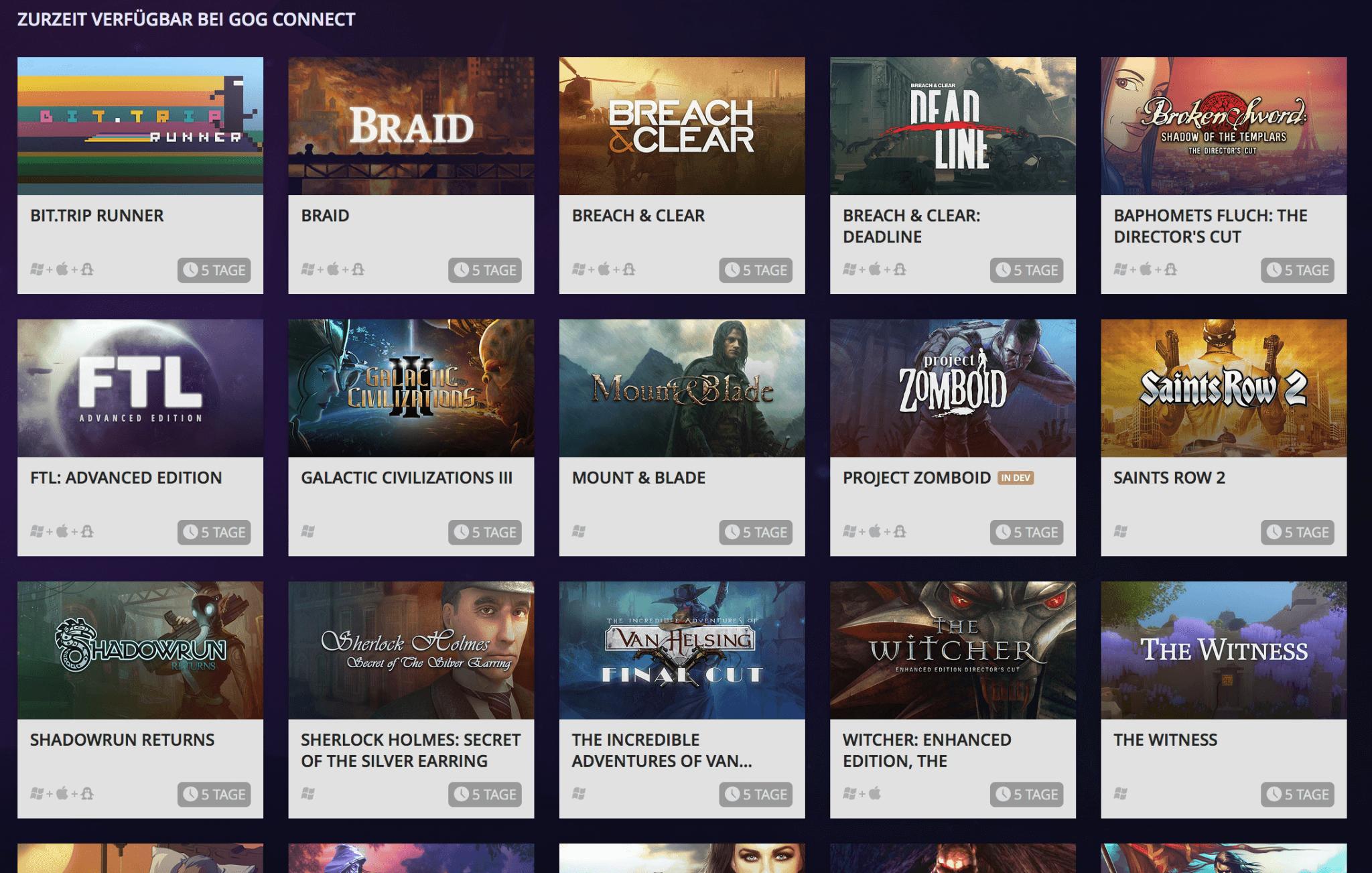 Die ersten über GOG Connect verfügbaren Titel