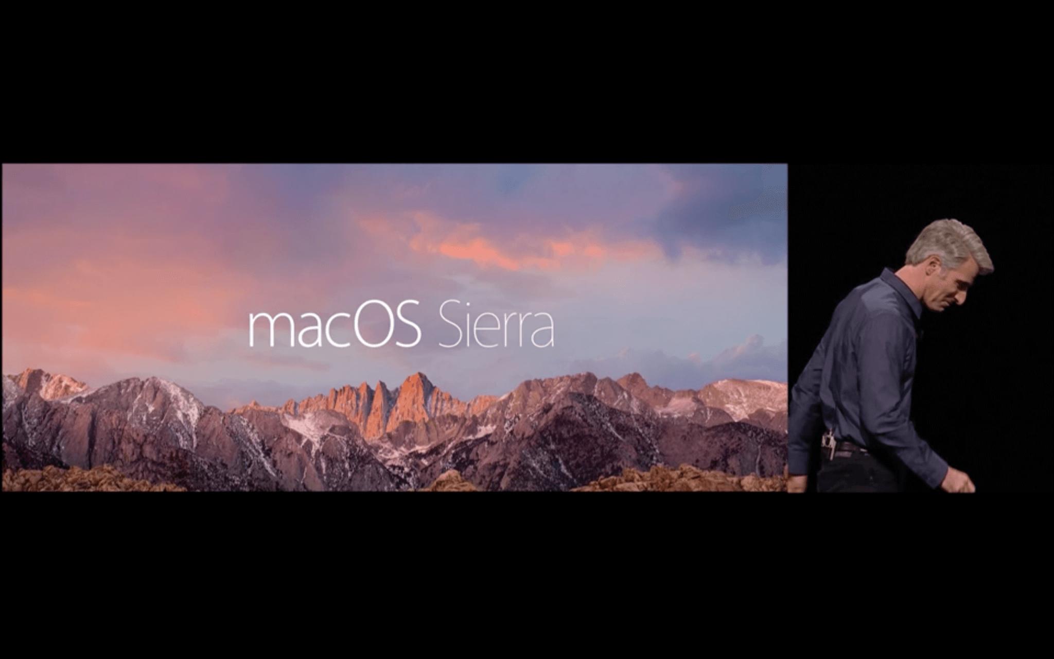 Das neue OS X heißt macOS Sierra (Screenshot von Apples Livestream)
