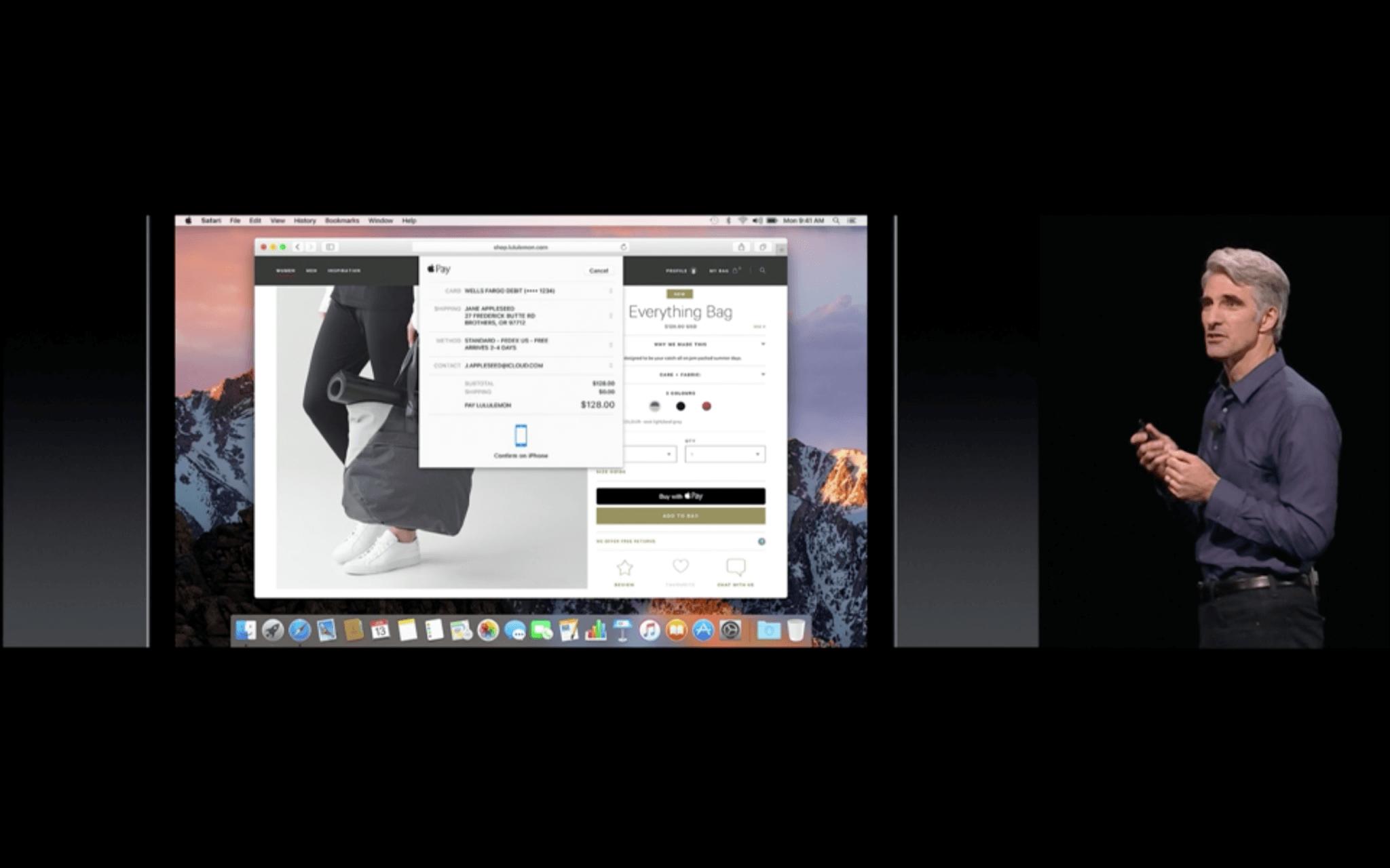 WWDC: Apple Pay steht ab demnächst auch im Web zur Bezahlung bereit (Screenshot von Apples Livestream)