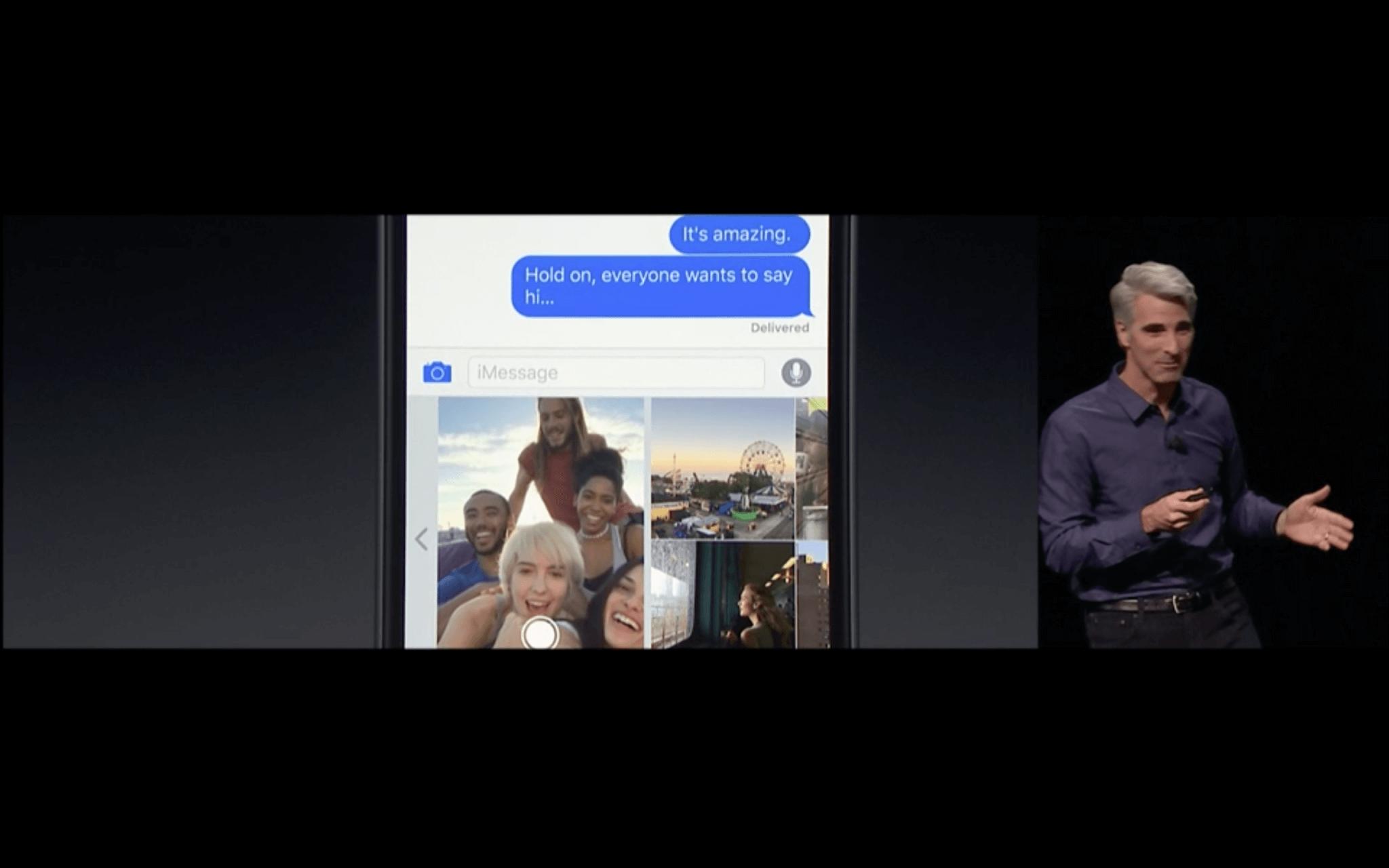 WWDC: Live-Vorschau der Kamera in der nachrichten-App (Screenshot von Apples Livestream)