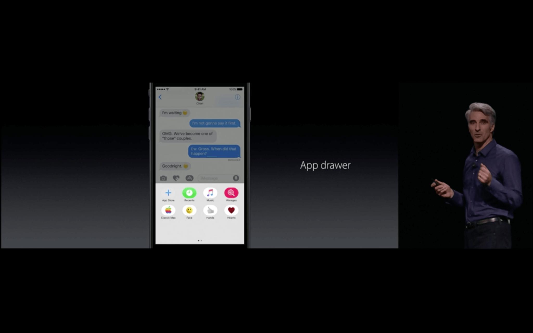 WWDC: Die Nachrichten-App bekommt einen internen Store, über den Erweiterungen wie Sticker bezogen werden können (Screenshot von Apples Livestream)