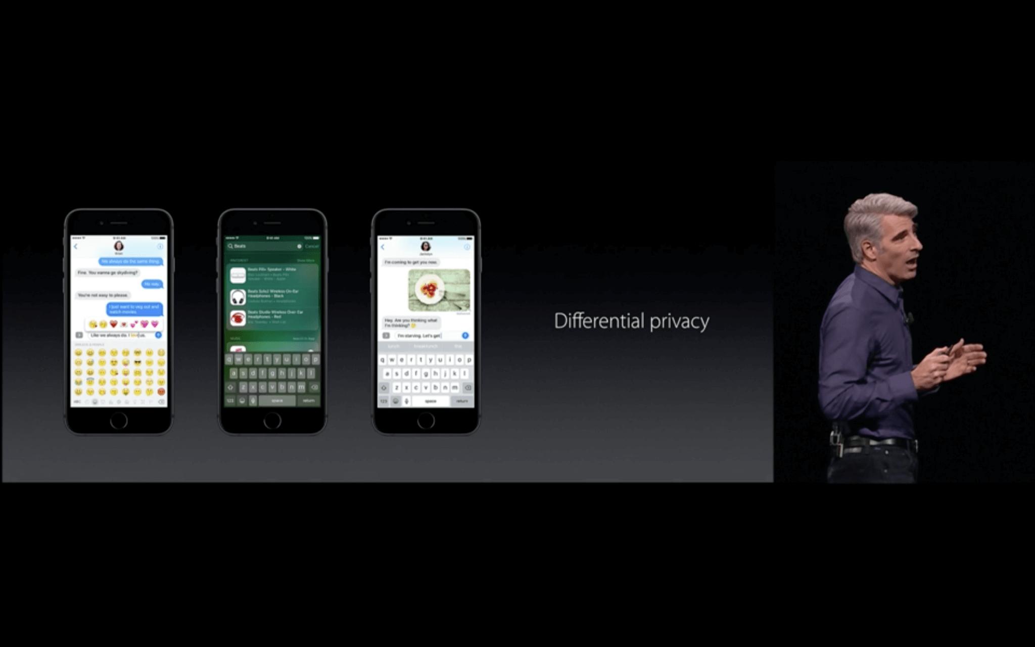 WWDC: Differential Privacy ist Apples Name für die anonymisierte Erhebung von Daten zum Nutzerverhalten (Screenshot aus Apples Livestream)