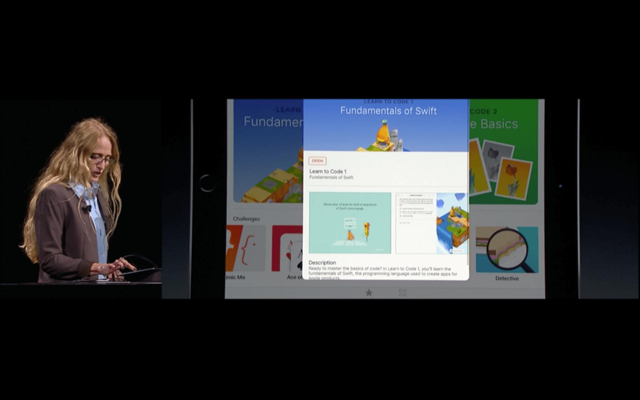 WWDC: Mit Swift Playgrounds soll es kinderleicht sein, Programmieren zu lernen (Screenshot von Apples Livestream)