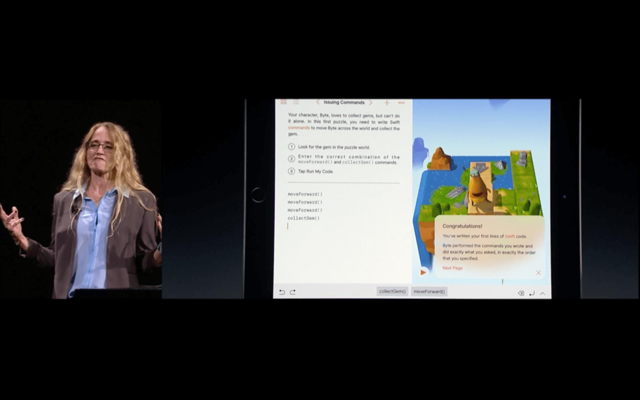 WWDC: Die Codebeispiele werden toll veranschaulicht (Screenshot von Apples Livestream)