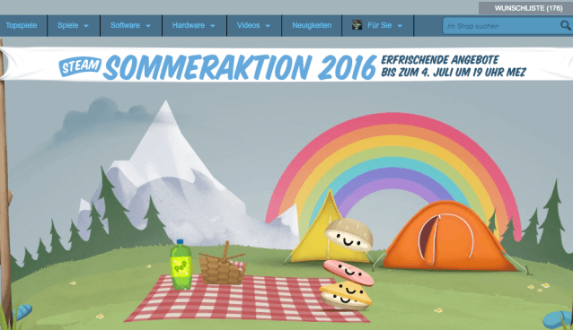 Steam Sommeraktion 2016 (Screenshot: Steam-Webseite)