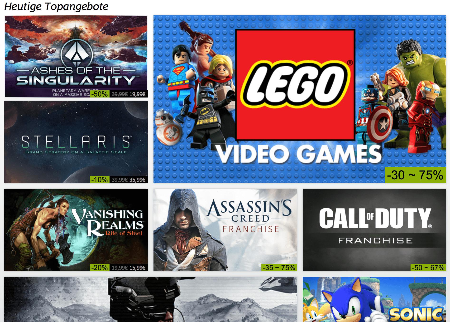 Einige Angebote bei der Steam Sommeraktion 2016 (Screenshot: Steam-Webseite)