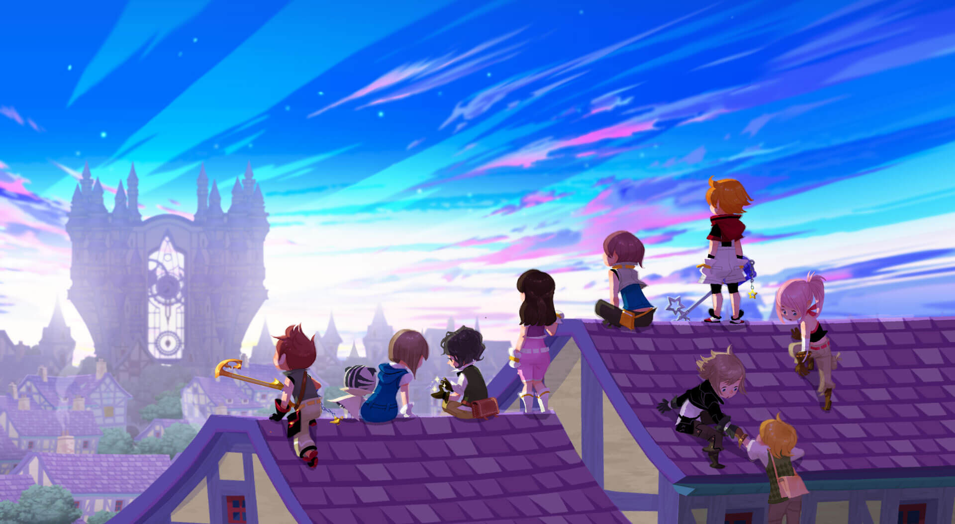 Die Helden in Kingdom Hearts Unchained χ (Bildrechte: Square Enix)