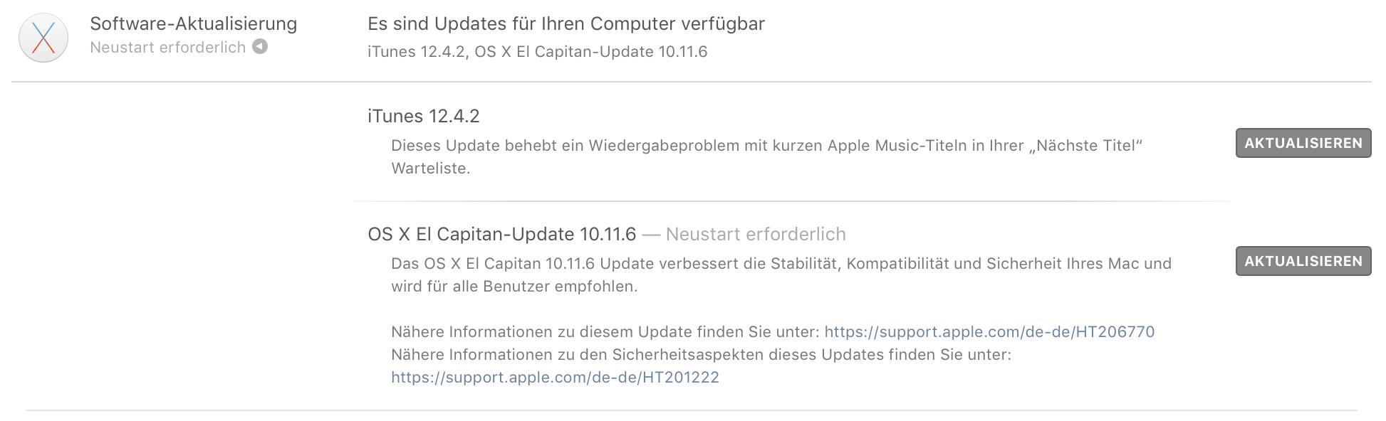 iTunes 12.4.2 und OS X 10.11.6 stehen zum Download bereit