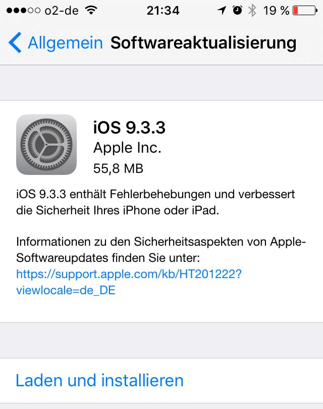 iOS 9.3.3 steht für iPhone, iPad und iPod touch bereit