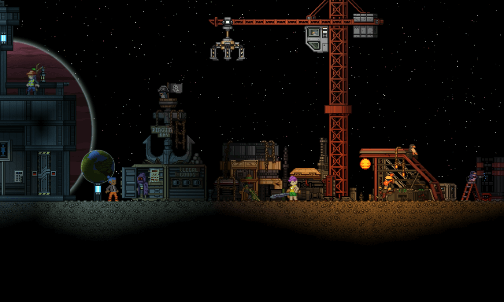 Eine typische Siedlung in Starbound