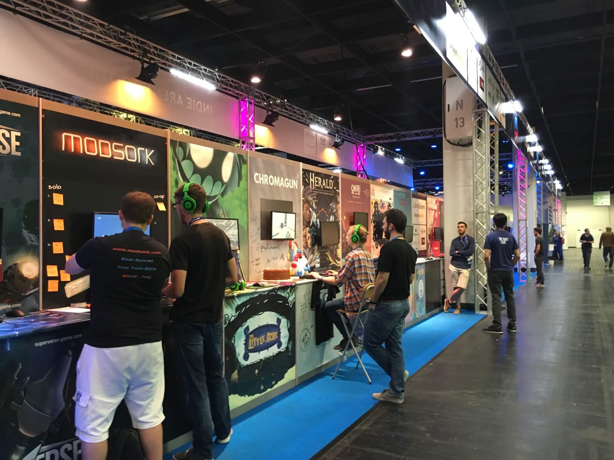 Gamescom 2016: einer der größten Stände war die Indie Arena Booth