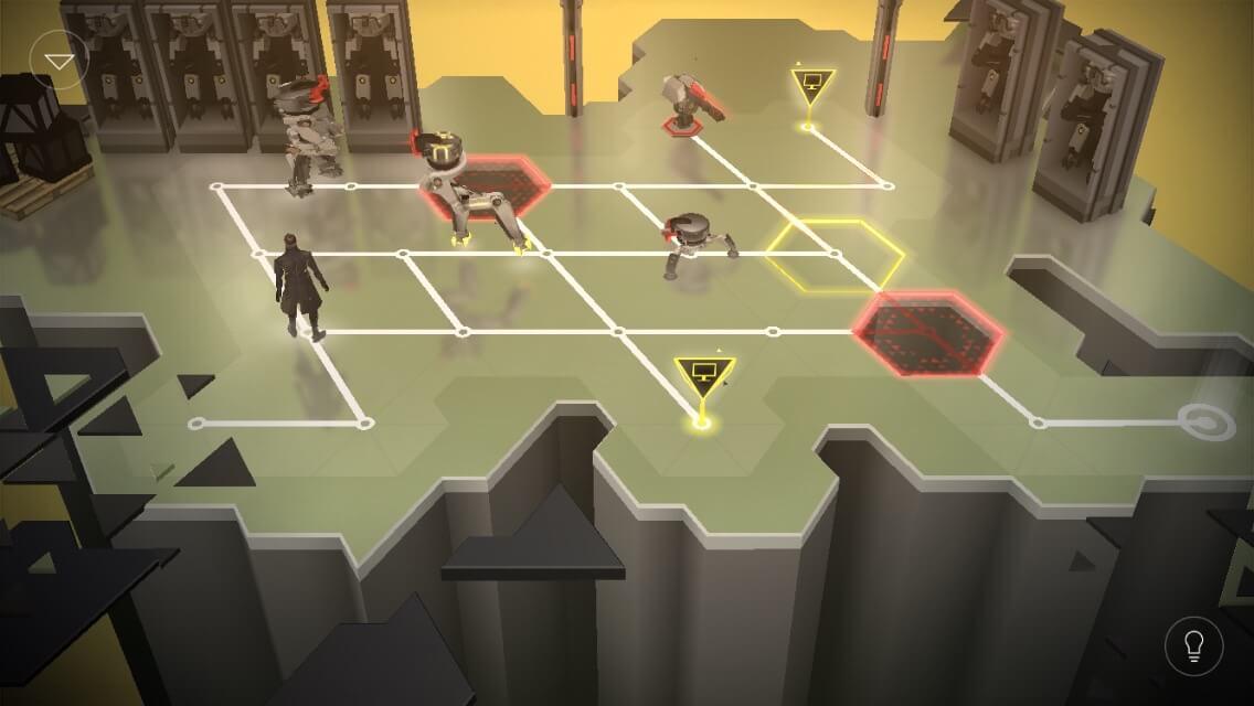 Den Robotern sollte man nicht vor die Füße laufen (Deus Ex Go)