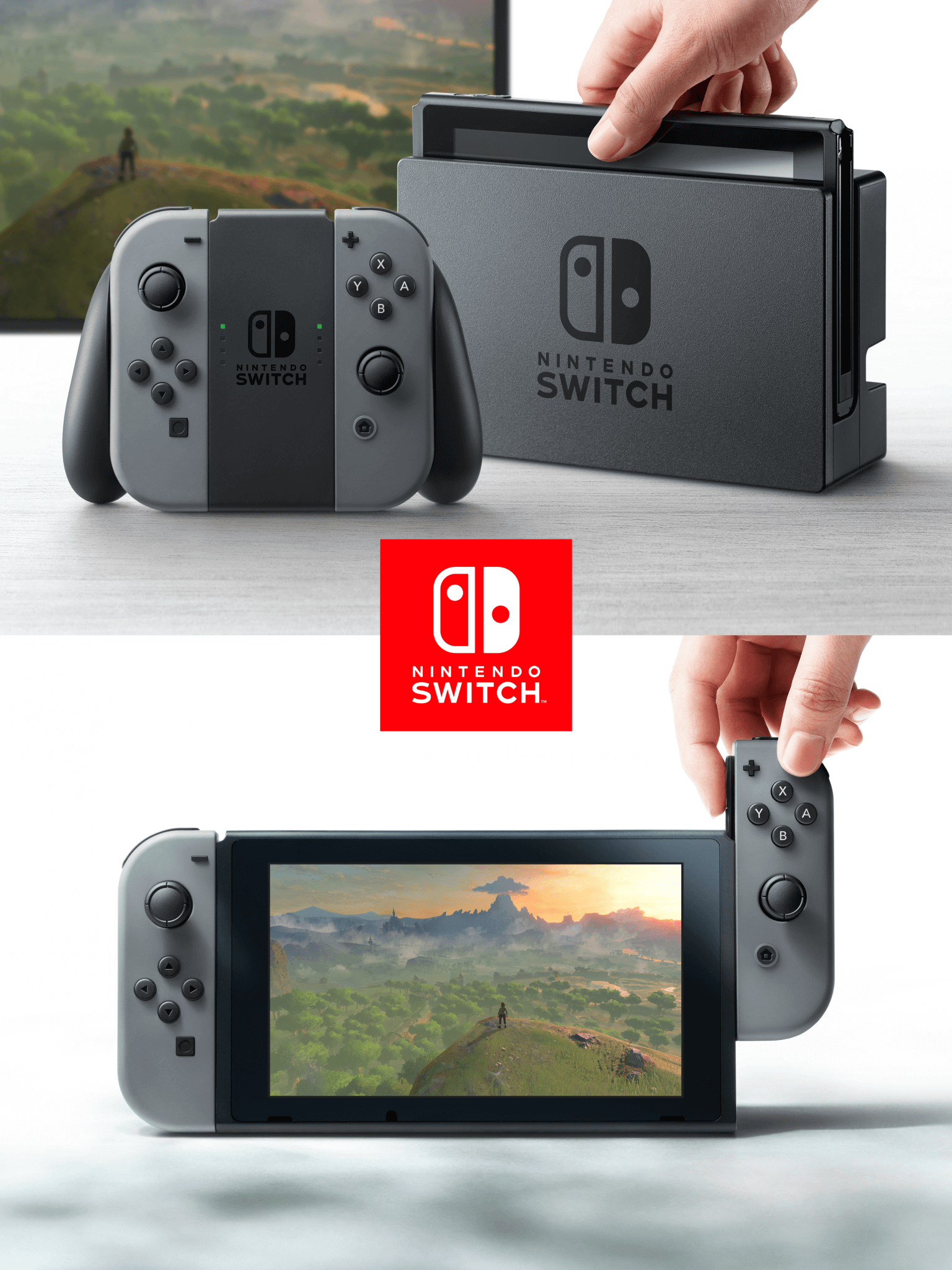 Nintendo Switch: oben im Dock als stationäre Konsole, unten als Handheld (Bildrechte: Nintendo)