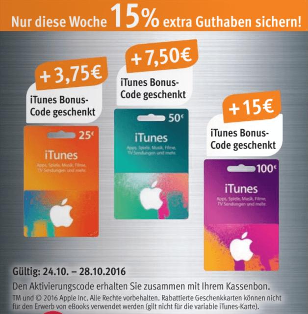 Auch bei Rossmann gibt es in der Zeit vom 24.10.2016 bis zum 28.10.2016 iTunes-Guthabenkarten mit zusätzlichem Guthaben (aus dem Online-Prospekt von Rossmann)