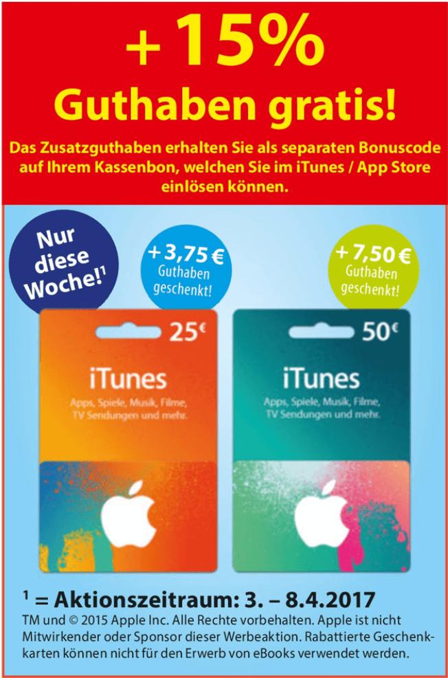 Extra-Guthaben auf iTunes-Karten bei Famila Nordost (03.05.-08.04.2017)
