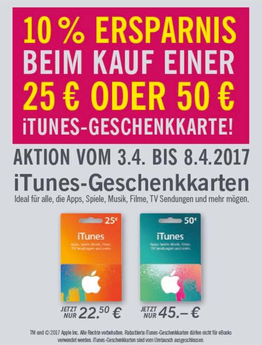 Rabatt auf iTunes-Karten bei Lidl (03.04.-08.04.2017)