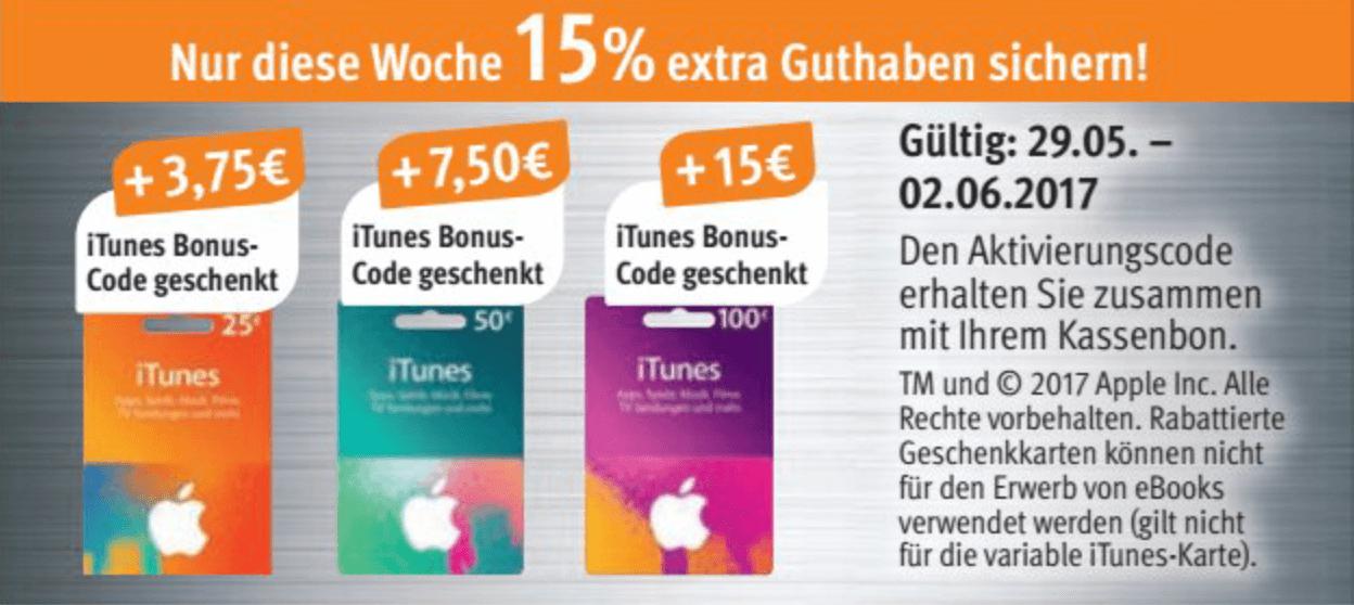 iTunes-Guthabenkarten bei Rossmann in der Zeit vom 29.05.-02.06.2017 im Angebot (Screenshot von der Rossmann-Webseite)