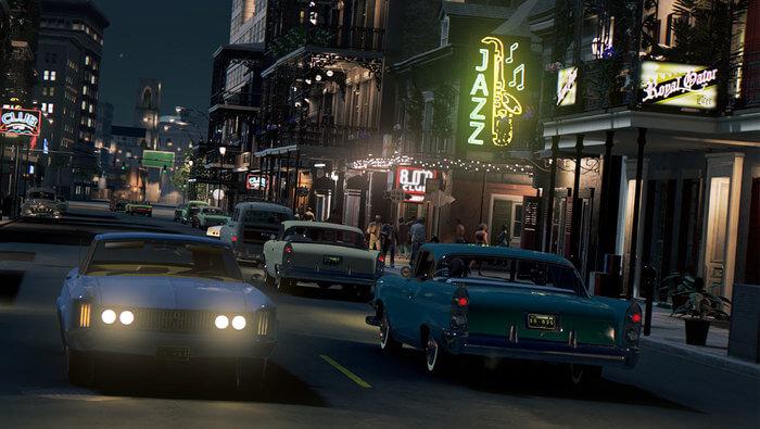 Mafia III: New Bordeaux im Schein der Neon-Reklame (Bildrechte: Aspyr Media)