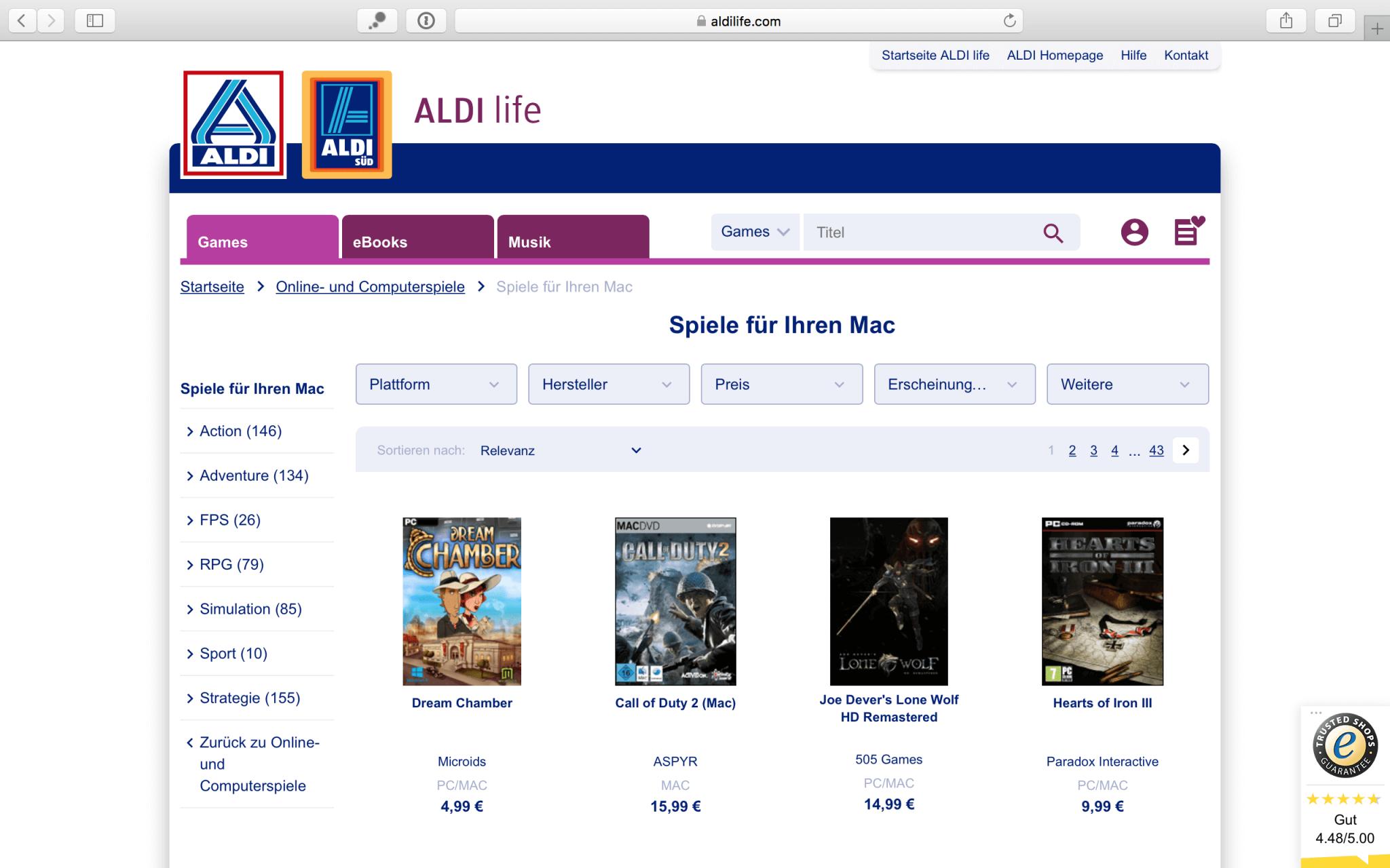 Hunderte von Mac-Spielen stehen bei Aldi Life Games zur Verfügung
