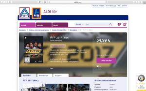 Auch das zur Gamescom 2017 erschienene F1 2017 ist bereits bei Aldi Life Games zu haben