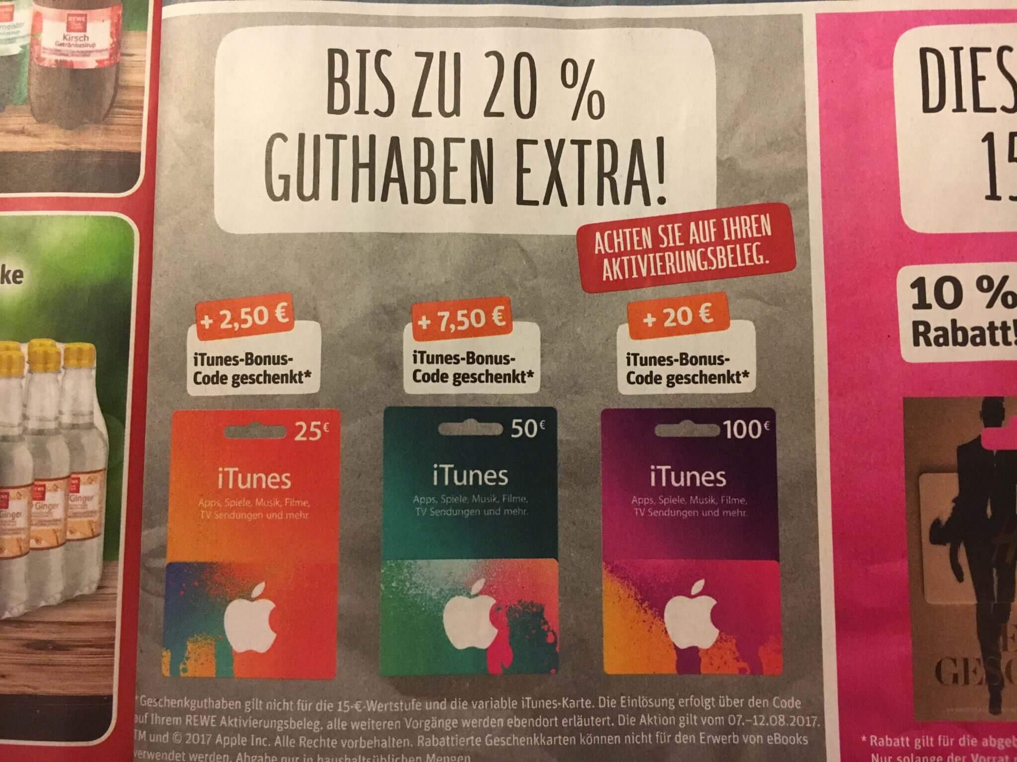 iTunes-Guthabenkarten bei Rewe in der Zeit vom 07.08.-12.08.2017 mit Extra-Guthaben (Foto aus Rewe-Werbeprospekt)