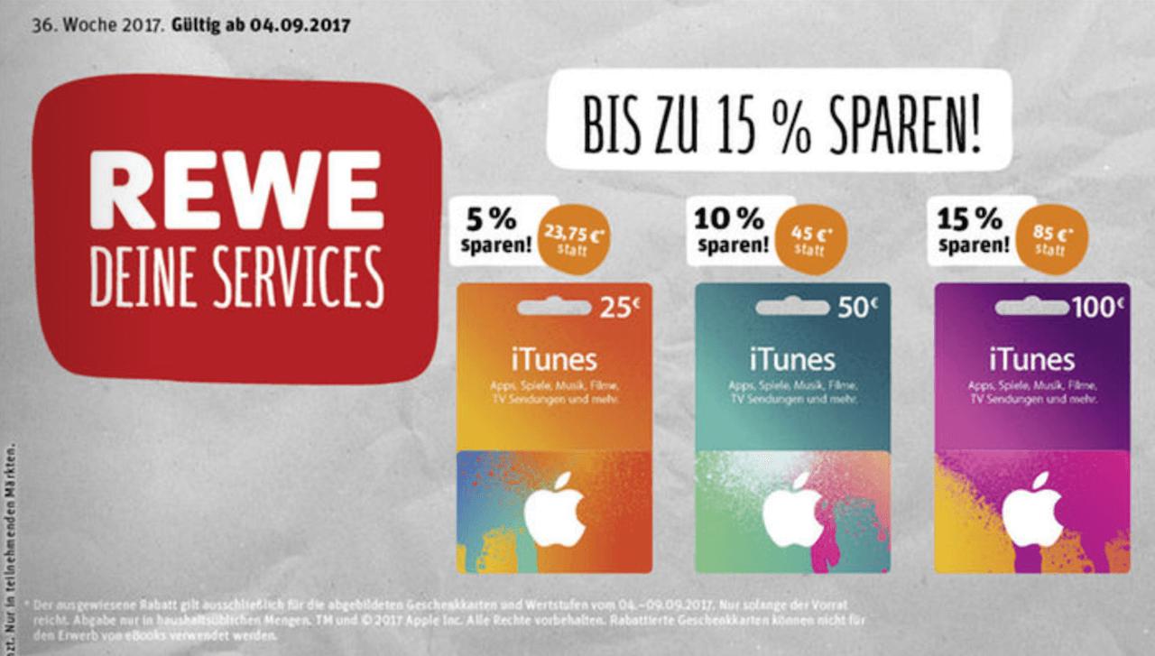 iTunes-Karten in der Zeit vom 04.09.2017 bis zum 09.09.2017 bei Rewe im Angebot (Screenshot des Werbe-PDFs)