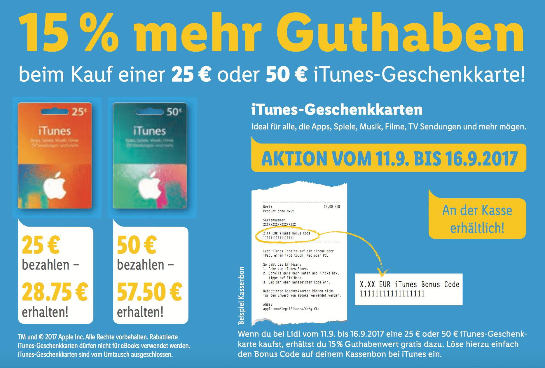 Vom 11.09.207 bis zum 16.09.2017: iTunes-Guthabenkarten bei Lidl im Angebot (Screenshot von Lidl-Online-Prospekt)