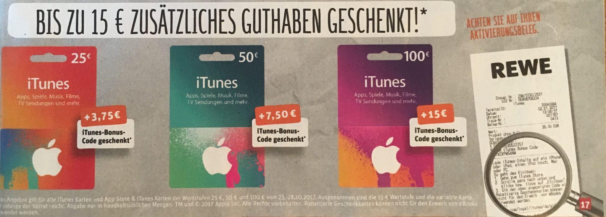 iTunes-Karten in der Zeit vom 23.10.2017 bis zum 28.10.2017 bei Rewe im Angebot (Foto vom Werbeprospekt)